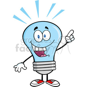 6041 Royalty Free Clip Art Blue Light Bulb Cartoon Mascot Character With A Bright Idea clipart. Royalty-free image # 389076