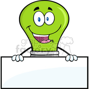 6033 Royalty Free Clip Art Smiling Green Light Buble Cartoon Character Over Blank Sign clipart. Commercial use image # 389096