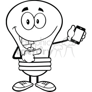 6090 Royalty Free Clip Art Light Bulb Character Holding A Mobile Phone clipart. Royalty-free image # 389106