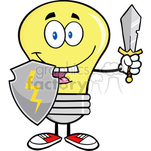 6027 Royalty Free Clip Art Light Bulb Guarder With Shield And Sword clipart. Royalty-free image # 389116