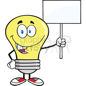 6055 Royalty Free Clip Art Light Bulb Cartoon Character Holding Up A Blank Sign clipart. Royalty-free image # 389126