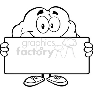 5988 Royalty Free Clip Art Brain Cartoon Character Holding A Banner clipart. Commercial use image # 389136