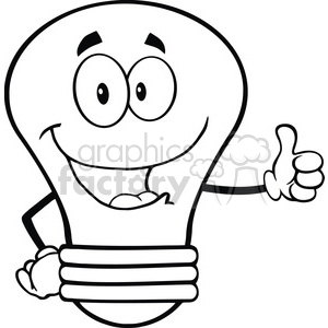 6126 Royalty Free Clip Art Light Bulb Cartoon Mascot Character Giving A Thumb Up clipart. Royalty-free image # 389146