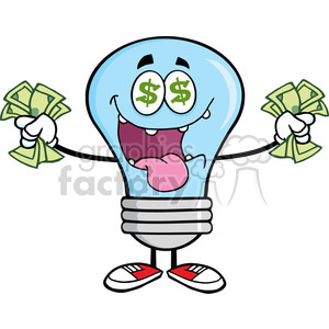 6053 Royalty Free Clip Art Money Loving Blue Light Bulb Cartoon Character clipart. Royalty-free image # 389166