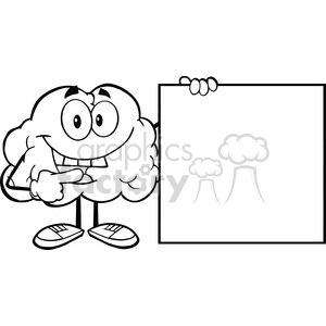 5995 Royalty Free Clip Art Happy Brain Cartoon Character Showing A Blank Sign clipart. Royalty-free image # 389176