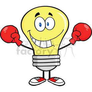 6046 Royalty Free Clip Art Smiling Light Bulb Cartoon Character Wearing Boxing Gloves clipart. Royalty-free image # 389236