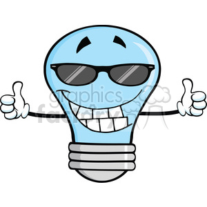 6160 Royalty Free Clip Art Smiling Blue Light Bulb With Sunglasses Giving A Double Thumbs Up animation. Royalty-free animation # 389256