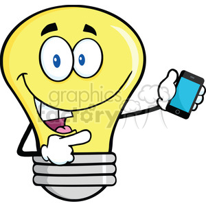 6163 Royalty Free Clip Art Light Bulb Character Holding A Mobile Phone clipart. Royalty-free image # 389266