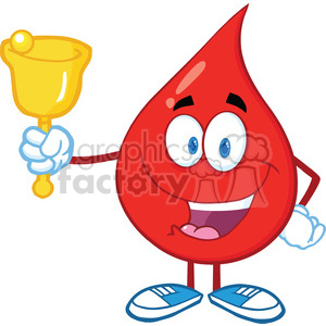6199 Royalty Free Clip Art Red Blood Drop Character Waving A Bell For Donation clipart. Royalty-free image # 389286