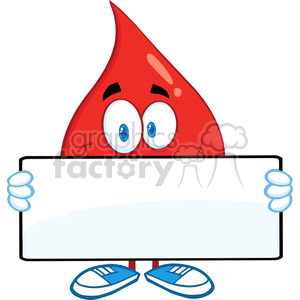6171 Royalty Free Clip Art Red Blood Drop Cartoon Mascot Character Holding A Banner clipart. Royalty-free image # 389296