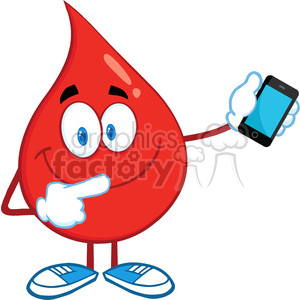 6198 Royalty Free Clip Art Red Blood Drop Character Pointing To A Mobile Phone clipart. Royalty-free image # 389326