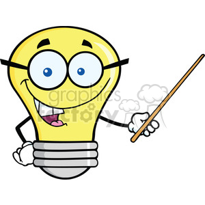 6166 Royalty Free Clip Art Light Bulb Character With Glasses Holding A Pointer clipart. Royalty-free image # 389346