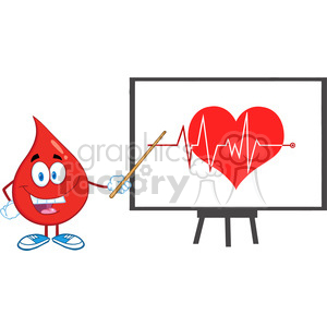 6188 Royalty Free Clip Art Red Blood Drop Character With Pointer Presenting Ecg Graph On Red Heart clipart. Royalty-free image # 389356