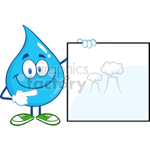 6215 Royalty Free Clip Art Water Drop Cartoon Mascot Character Showing A Blank Sign clipart. Royalty-free image # 389376