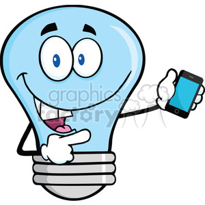 6164 Royalty Free Clip Art Blue Light Bulb Character Holding A Mobile Phone clipart. Royalty-free image # 389386