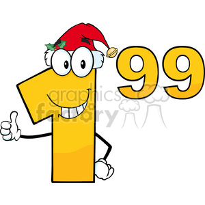 1.99 With Santa Hat Cartoon Mascot Character clipart. Commercial use image # 389426