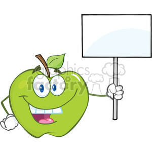 6521 Royalty Free Clip Art Happy Green Apple Cartoon Character Holding Up A Blank Sign clipart. Royalty-free image # 389446