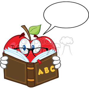 6524 Royalty Free Clip Art Smiling Apple Teacher Character Reading A Book With Speech Bubble clipart. Royalty-free image # 389449