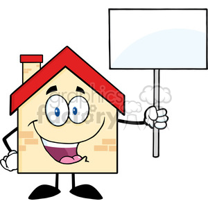 6480 Royalty Free Clip Art House Cartoon Character Holding Up A Blank Sign [Converted] clipart. Commercial use image # 389459