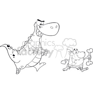 6814 Royalty Free Clip Art Black and White Angry Dinosaur Chasing A Caveman clipart. Commercial use image # 389461