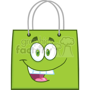 6722 Royalty Free Clip Art Happy Green Shopping Bag Cartoon Mascot Character clipart. Royalty-free image # 389491