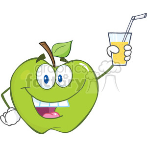 6529 Royalty Free Clip Art Smiling Green Apple Cartoon Character Holding A Glass With Drink clipart. Royalty-free image # 389511