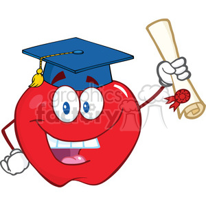 6505 Royalty Free Clip Art Happy Apple Character Graduate Holding A Diploma clipart. Royalty-free image # 389531