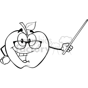 6508 Royalty Free Clip Art Black and White Apple Teacher Character With A Pointer clipart. Commercial use image # 389551
