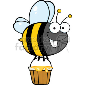 6551 Royalty Free Clip Art Smiling Cute Bee Flying With A Honey Bucket clipart. Royalty-free image # 389561
