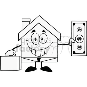 6451 Royalty Free Clip Art Black and White Smiling House Businessman Carrying A Briefcase And Showing A Dollar Bill clipart. Royalty-free image # 389591