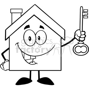 6483 Royalty Free Clip Art Black and White House Cartoon Character Holding Up A Key clipart. Commercial use image # 389601