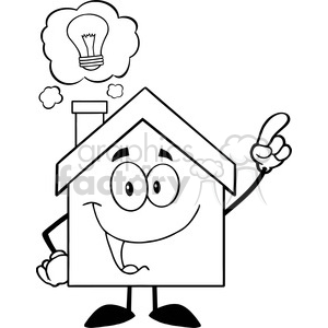 6473 Royalty Free Clip Art Black and White House Cartoon Character With Good Idea clipart. Commercial use image # 389611