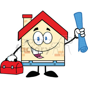 6458 Royalty Free Clip Art House Worker With Blueprint And Tool Box clipart. Commercial use image # 389633