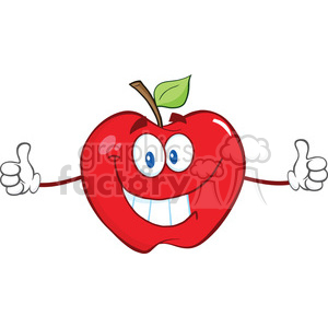 6536 Royalty Free Clip Art Apple Cartoon Mascot Character Giving A Thumb Up clipart. Commercial use image # 389643
