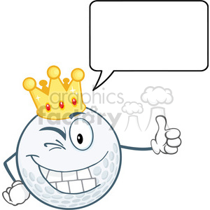 6488 Royalty Free Clip Art Winking Golf Ball Cartoon Character With Gold Crown Holding A Thumb Up And Speech Bubble clipart. Royalty-free image # 389663
