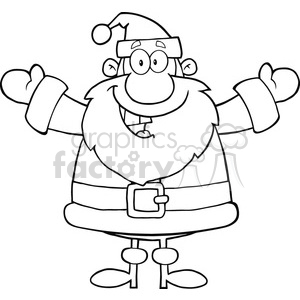 6656 Royalty Free Clip Art Black And White Happy Santa Claus With Open Arms For Hugging clipart. Commercial use image # 389673