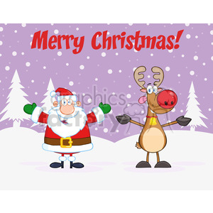 6669 Royalty Free Clip Art Merry Christmas Greeting With Santa Claus And Rudolph Reindeer clipart. Commercial use image # 389693