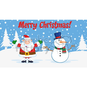 6678 Royalty Free Clip Art Merry Christmas Greeting With Santa Claus And Snowman clipart. Royalty-free image # 389703