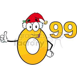 6690 Royalty Free Clip Art Price Tag Number 0-99 With Santa Hat Cartoon Mascot Character Giving A Thumb Up