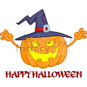 6611 Royalty Free Clip Art Scaring Halloween Pumpkin With A Witch Hat And Sign clipart. Royalty-free image # 389733