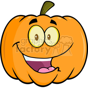 6642 Royalty Free Clip Art Happy Halloween Pumpkin Cartoon Mascot Illustration clipart. Royalty-free image # 389743