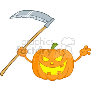 6638 Royalty Free Clip Art Scaring Halloween Pumpkin With A Scythe Cartoon Illustration clipart. Royalty-free image # 389753