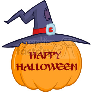 6606 Royalty Free Clip Art Pumpkin With A Witch Hat And Text Cartoon Illustration clipart. Royalty-free image # 389763