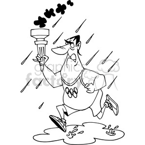 olympian running with torch black white clipart. Commercial use image # 389831