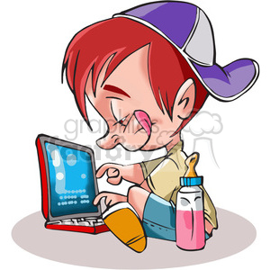 child on a computer clipart. Royalty-free image # 389841