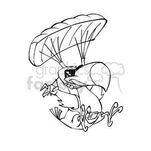 parachuting tropical bird cartoon black white clipart. Royalty-free image # 389871