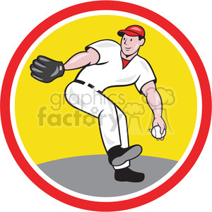 baseball pitcher throw frnt clipart. Commercial use image # 389881