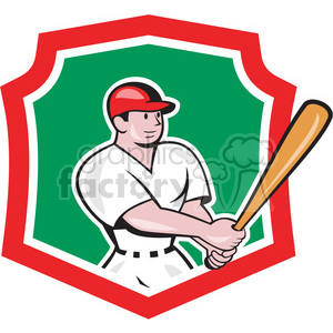 baseball batter side look SHIELD clipart. Royalty-free image # 389916