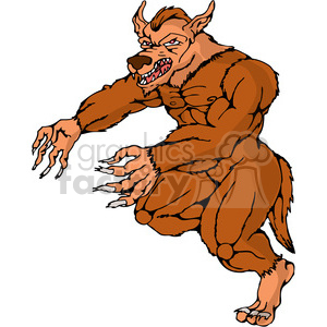 werewolf running attack clipart. Commercial use image # 389926