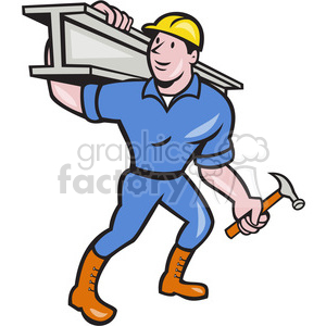 construction worker ibeam hammer clipart. Commercial use image # 389936